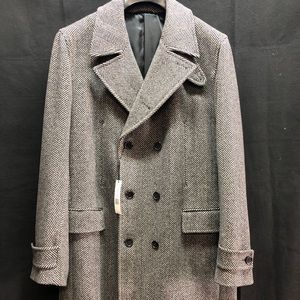 NWT THEORY MENS DBL BREAST GRAY TWEED TRENCH